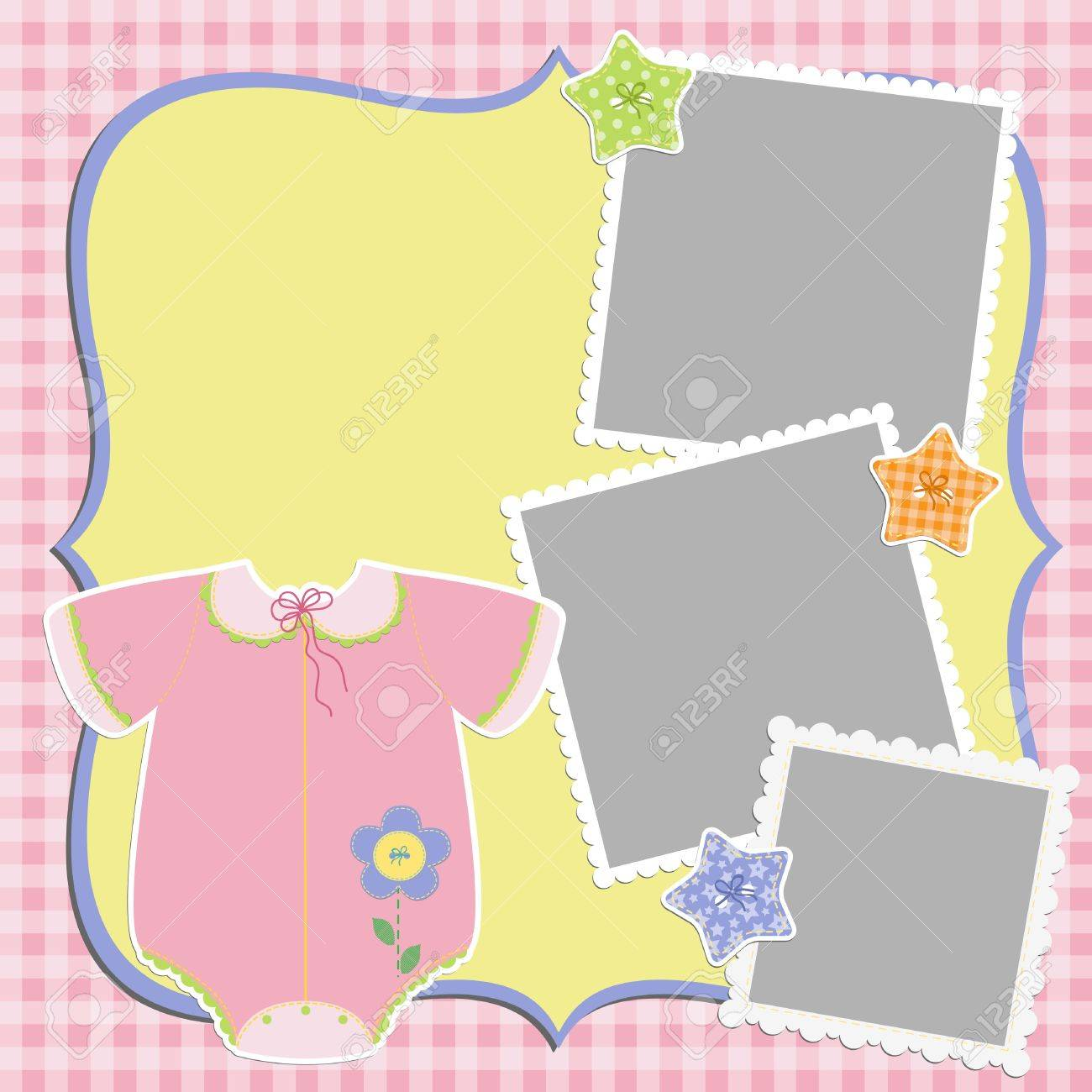 Cute template for baby s card Stock Vector - 16038530