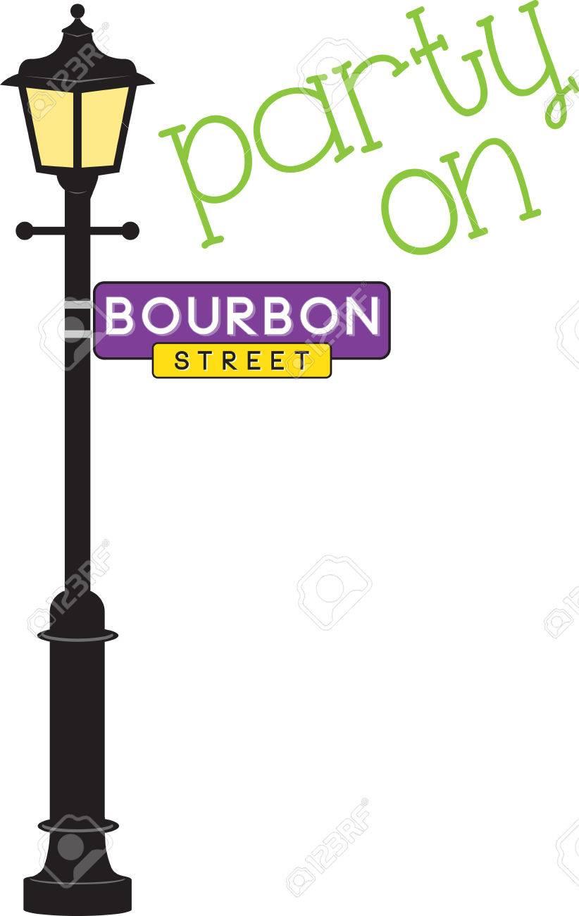 Street lamp post clipart alternative clipart design bourbon street sign and lamp post for mardi gras fun royalty free rh 123rf com aloadofball Image collections