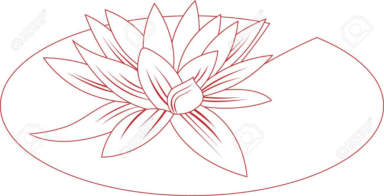 This Lily Pad Flower Outline Is Perfect To Add To A Shirt To ...