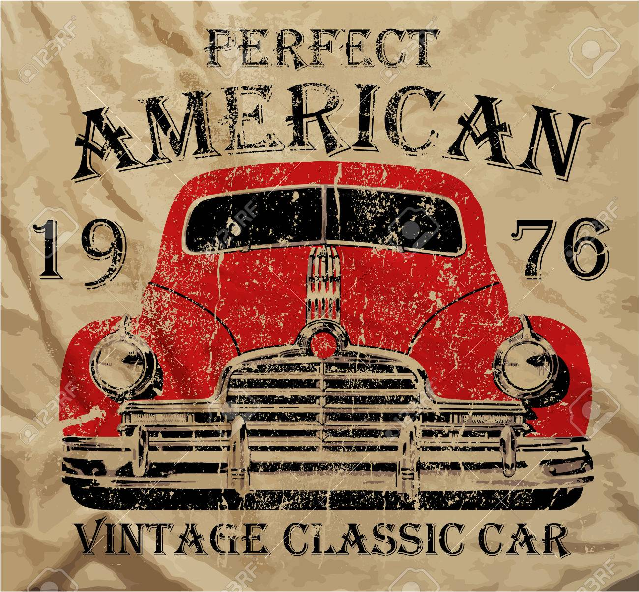 Old American Car Vintage Classic Retro Man T Shirt Graphic Design ...