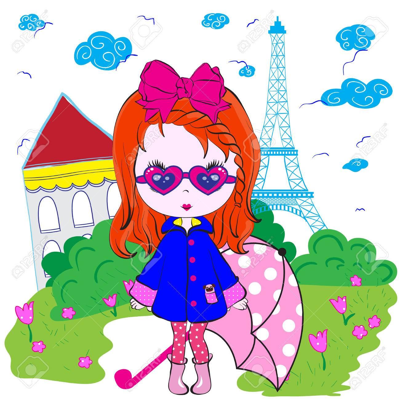 Shirt design in girl - Kids Girl Paris Teenage T Shirt Design Stock Vector 32485592