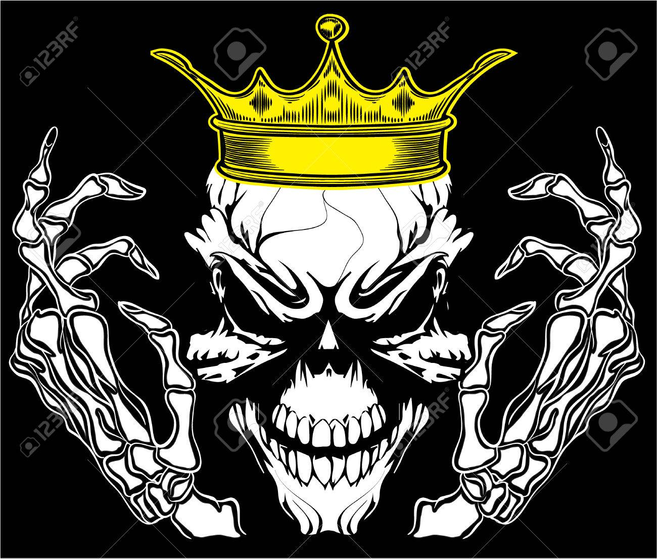 Design t shirt skull - Skull King Poster Vintage Man T Shirt Graphic Vector Design Stock Vector 32485618
