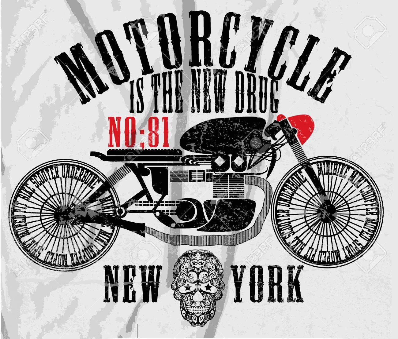 Moto De Carreras Del Vintage Dibujo A Mano T Shirt De Impresión