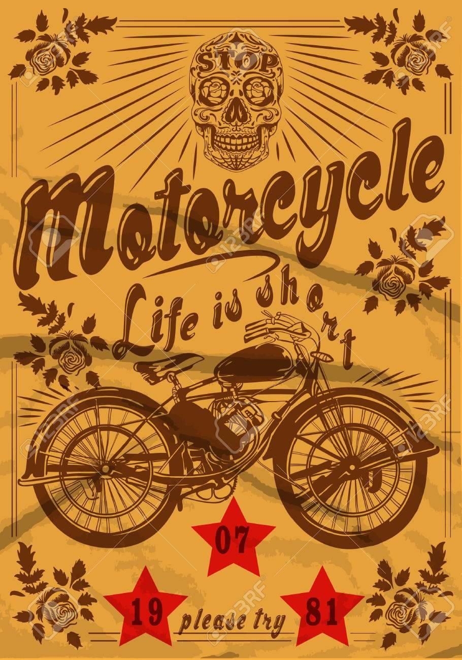 Design t shirt vintage - Motorcycle Skull Vintage Old T Shirt Design Stock Vector 32485627