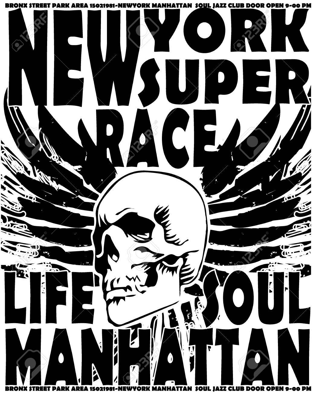 Shirt design nyc - New York Skull College Man T Shirt Design Stock Vector 36427826