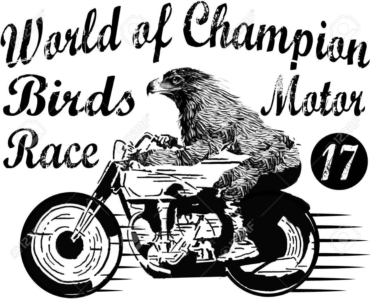 Design t shirt motor - Motorcycle Label T Shirt Design With Illustration Of Custom Chopper Stock Vector 39236314
