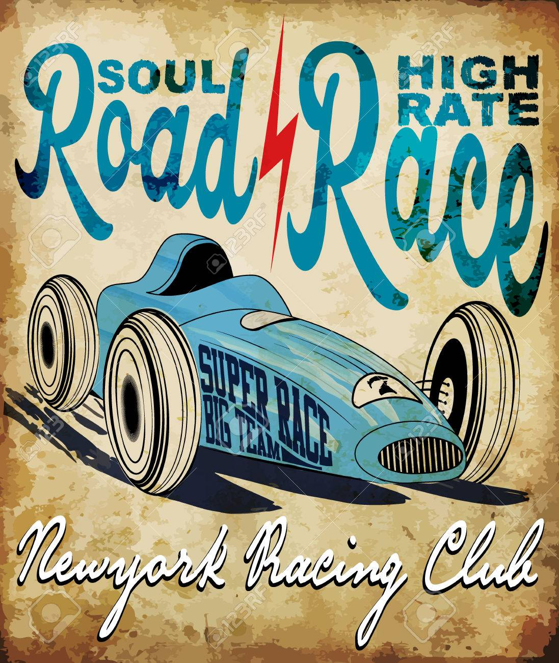 Vintage Race Car For Printing.vector Old School Race Poster.retro ...