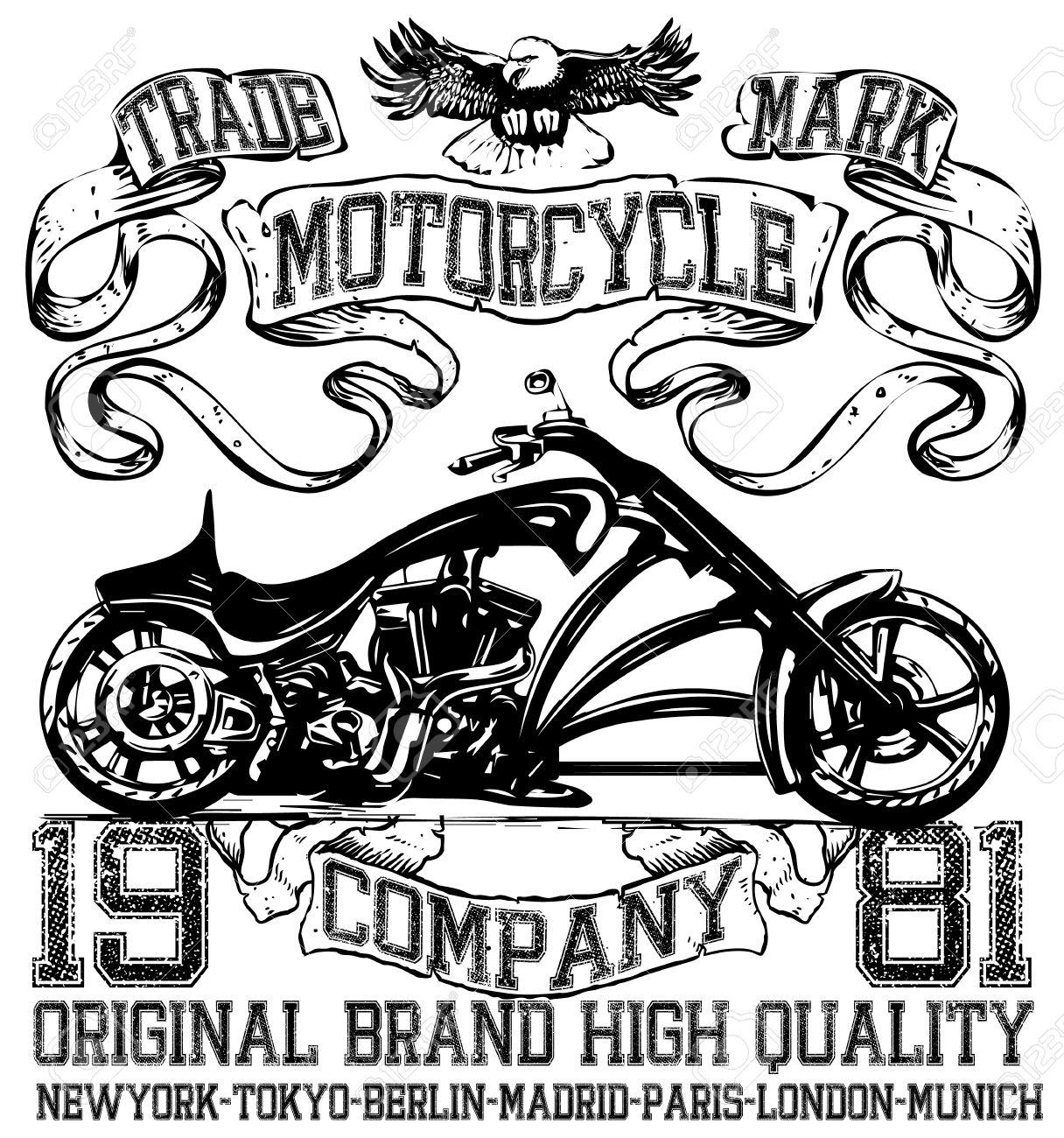 Shirt design london - Motorcycle Label T Shirt Design With Illustration Of Custom Chopper Stock Vector 52881424