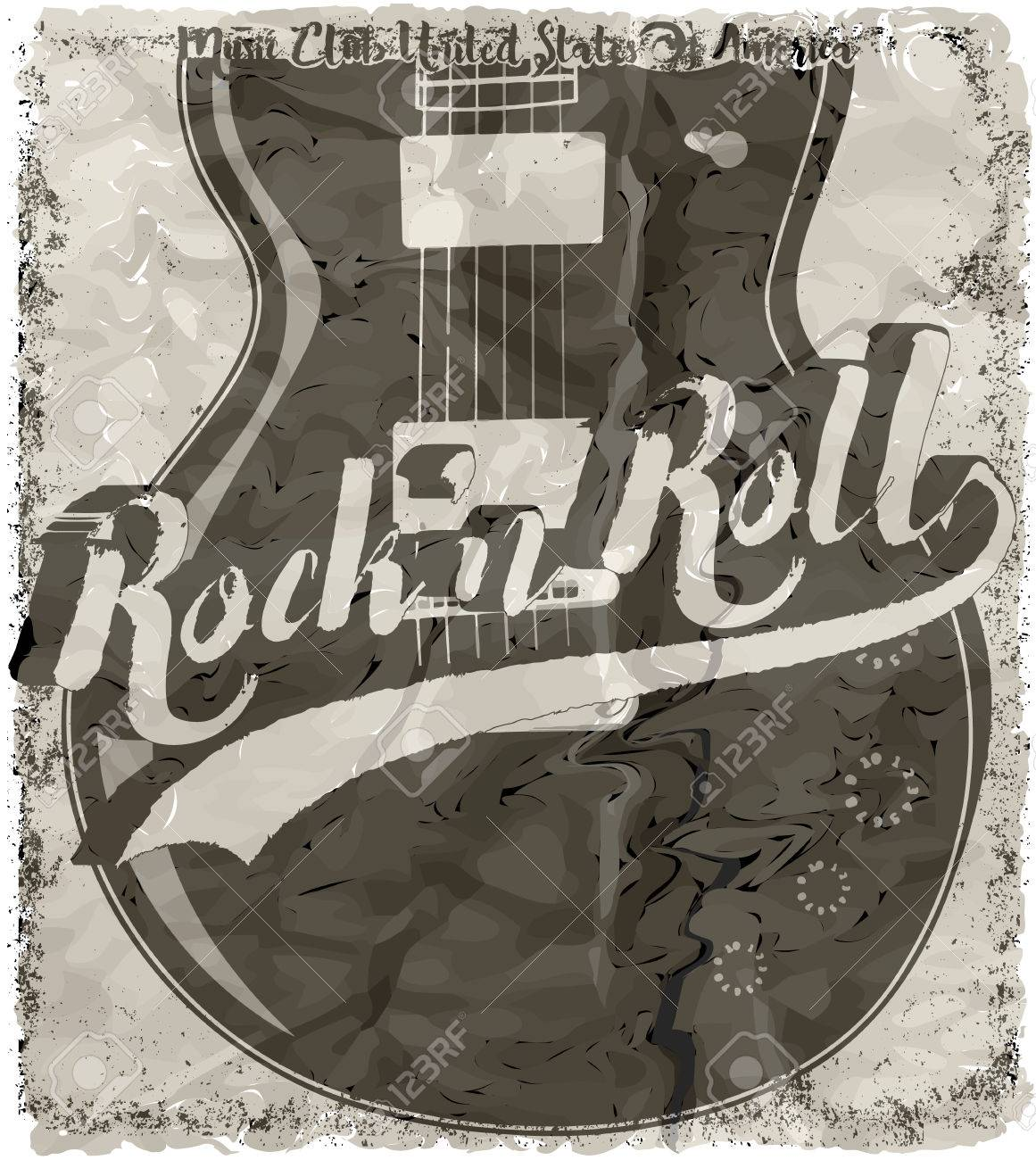 Rock n roll poster design - Rock N Roll Poster Guitar Graphic Design Tee Vector Art Stock Vector 56721344