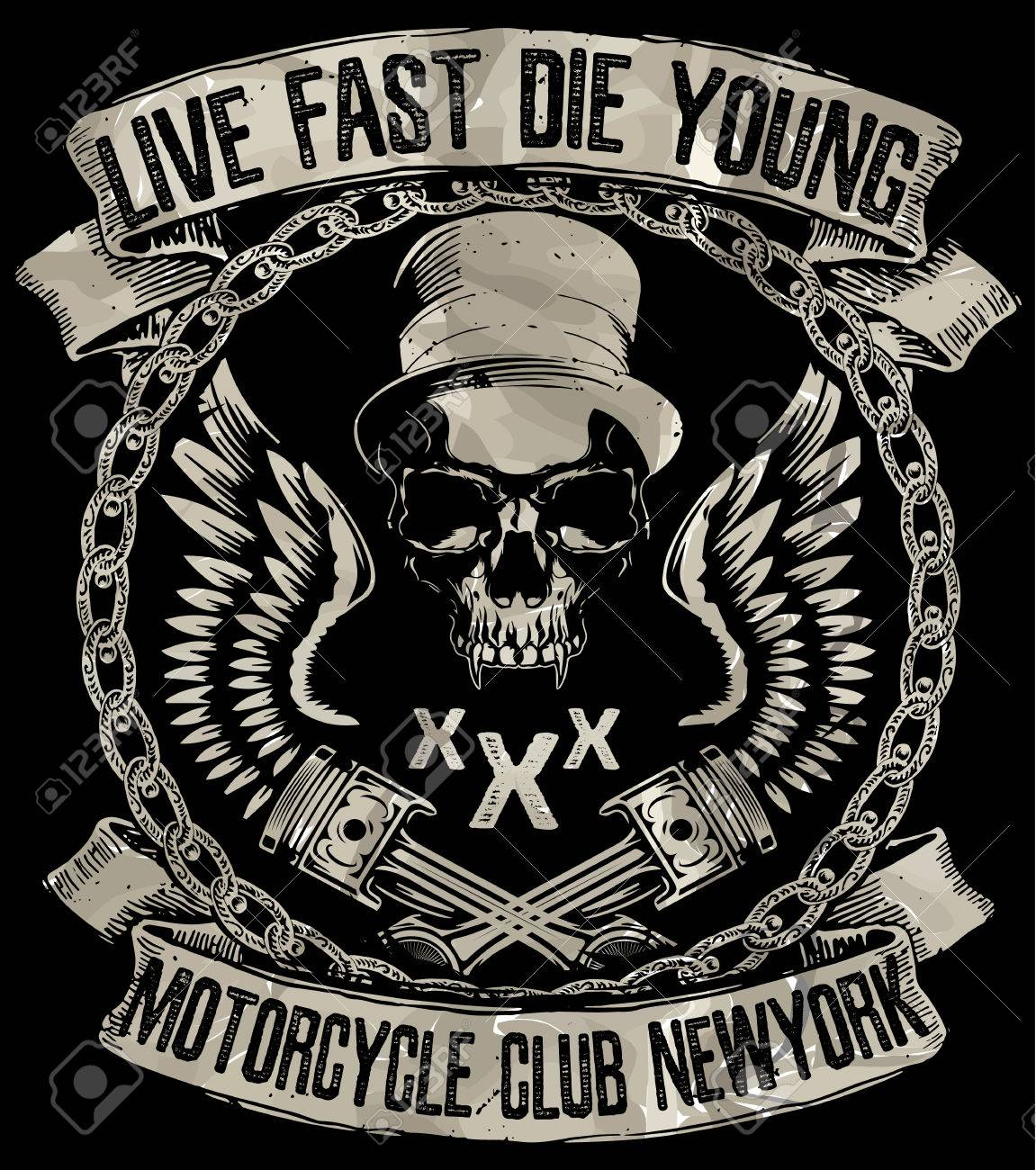 Vintage motorcycle. Hand drawn grunge vintage illustration with hand lettering and a retro bike. This illustration can be used as a print on t-shirts and bags; stationary or as a poster. - 56802978