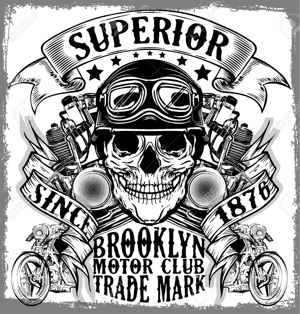 Design t shirt label - Motorcycle Label T Shirt Design With Illustration Of Custom Chopper Stock Vector 57909281