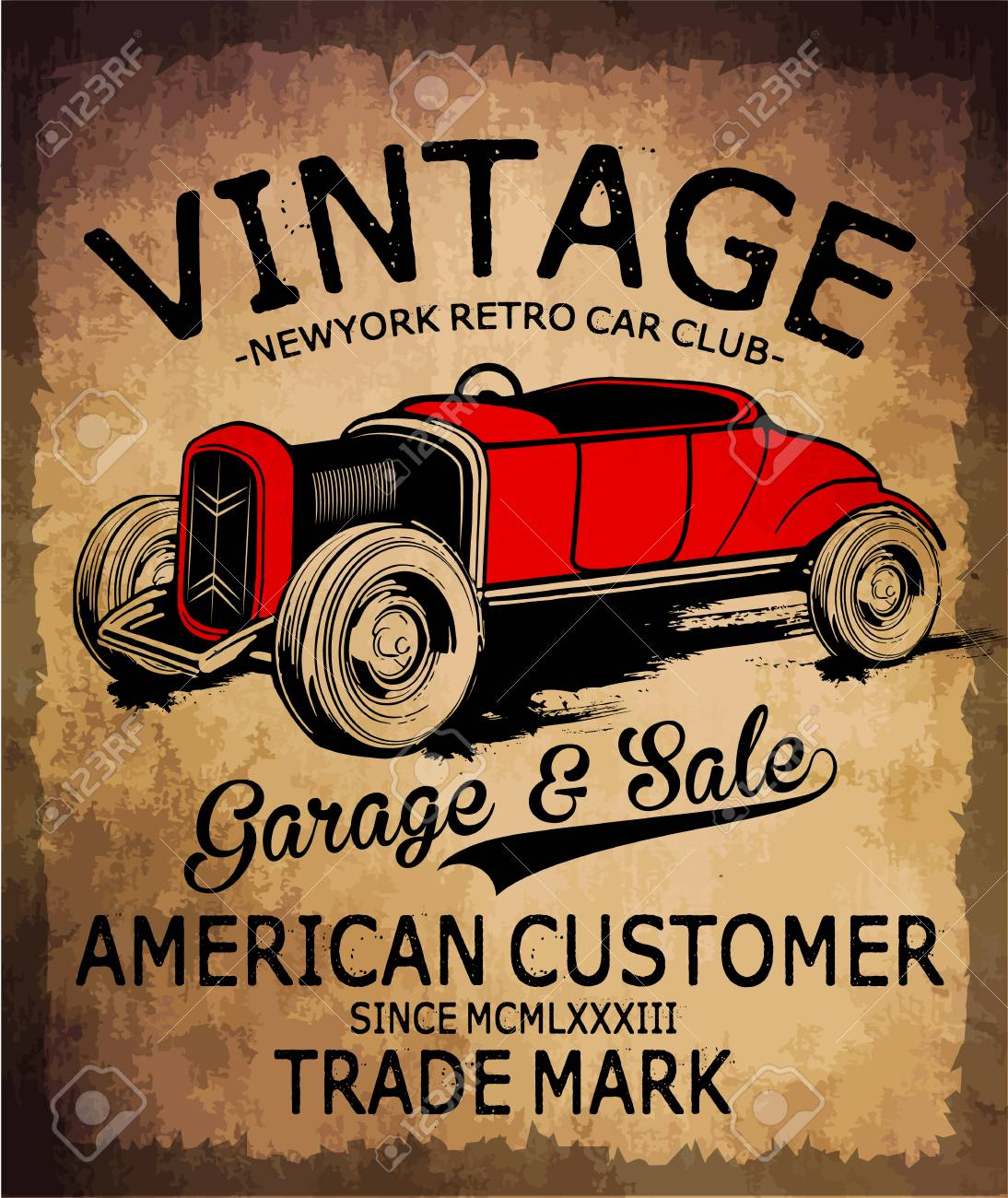 Vintage car tee graphic design - 58386858