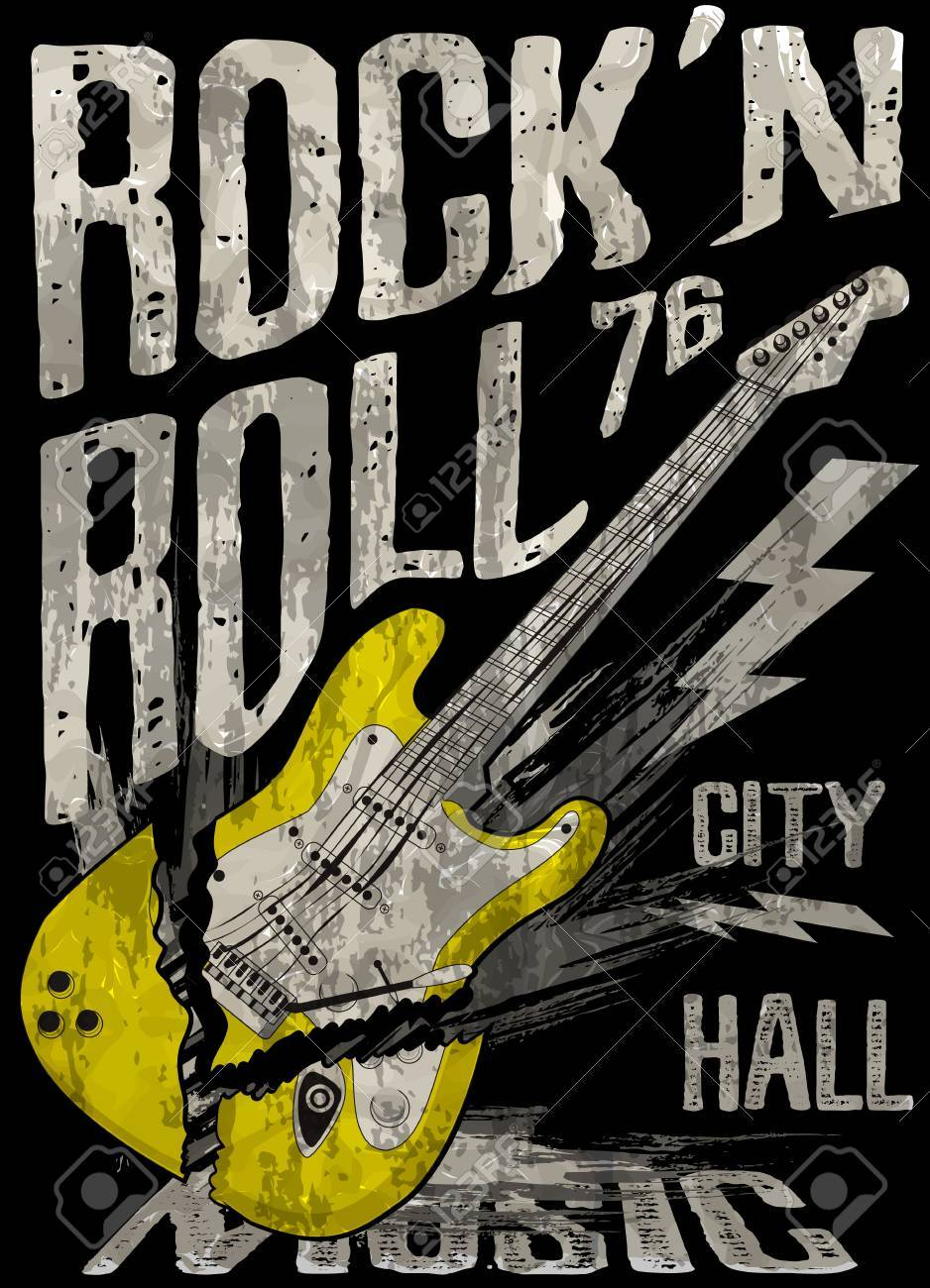 rock n roll poster guitar graphic design tee vector art royalty free