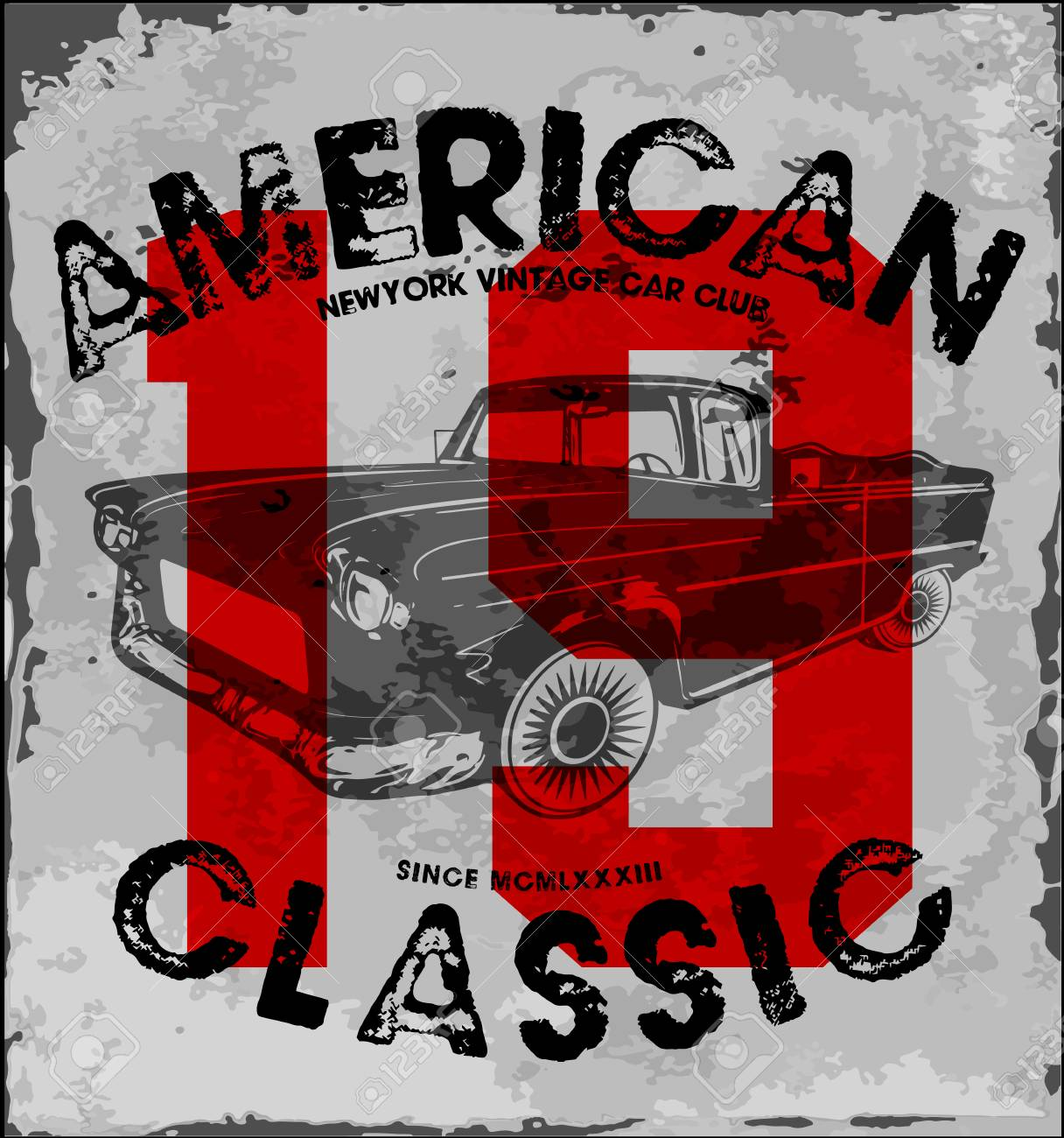 American Classic Car Vintage Race Car For Printing.vector Old ...