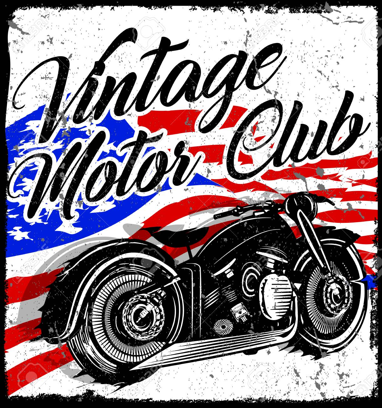 ac6a56204 Vintage Motorcycle T-shirt Graphic Royalty Free Cliparts, Vectors ...