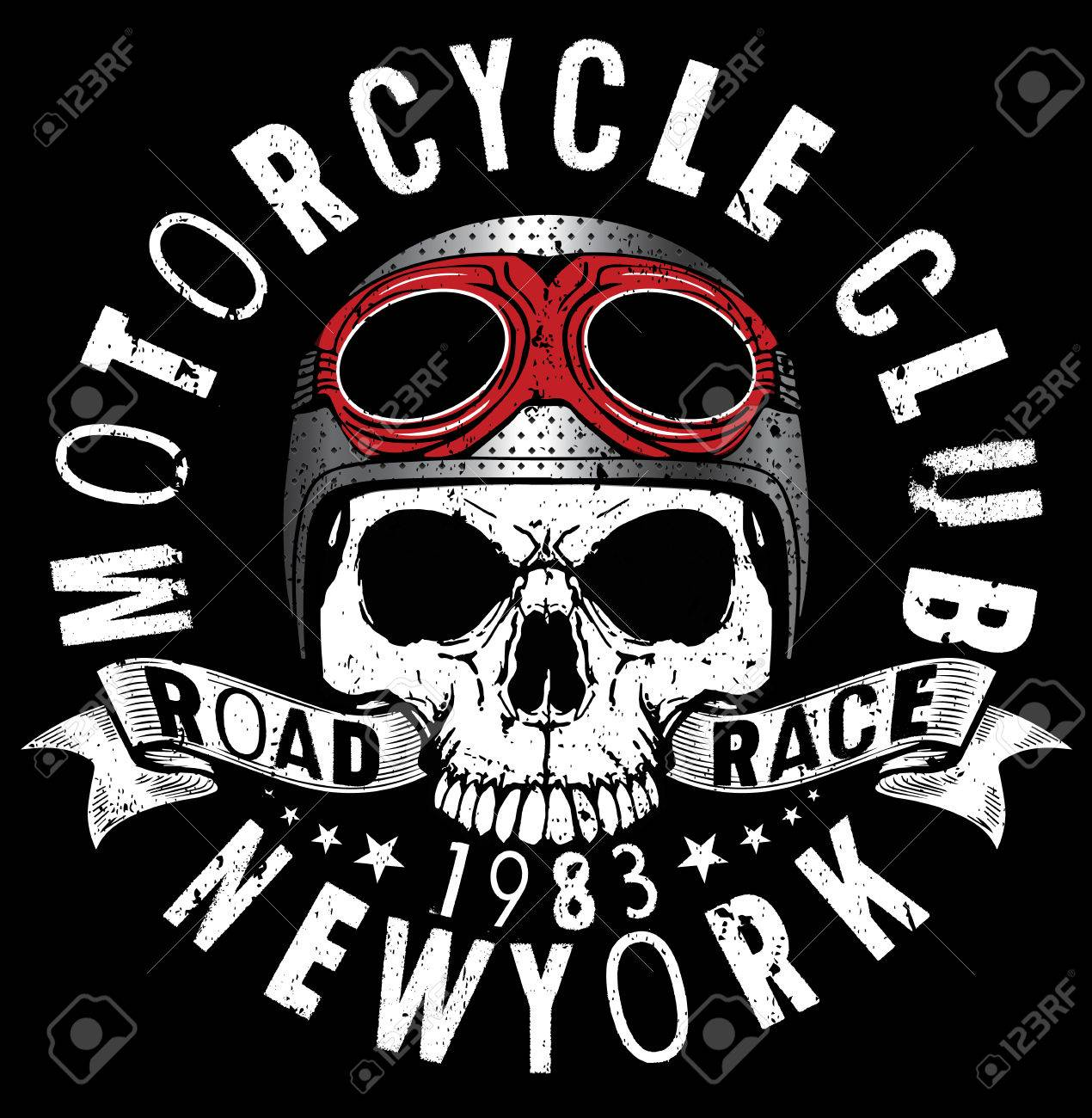 motorcycle racing typography graphics and poster skull and old
