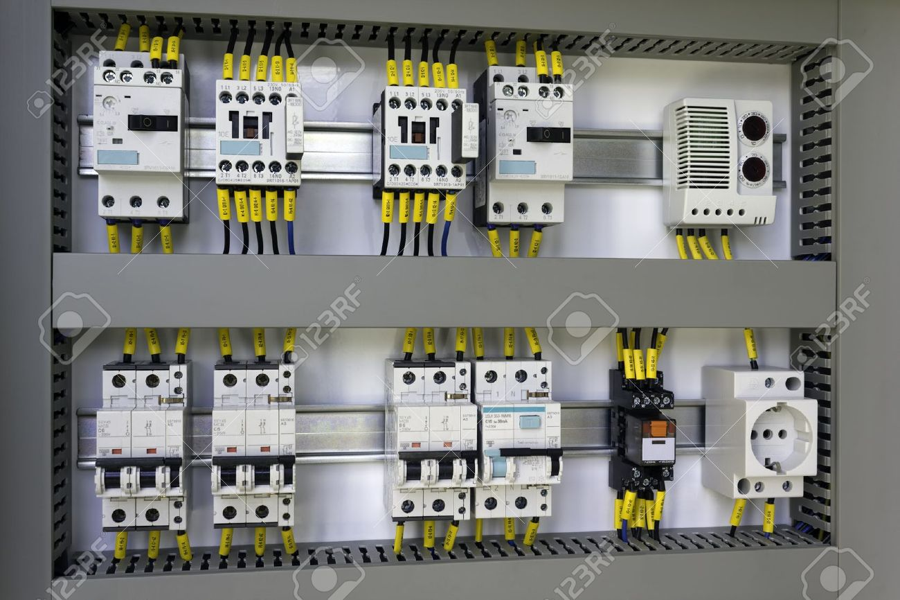 Industrial Enclosure With Electrical Equipment Miniature Circuit Relay And Breaker Breakers Contactors Switches