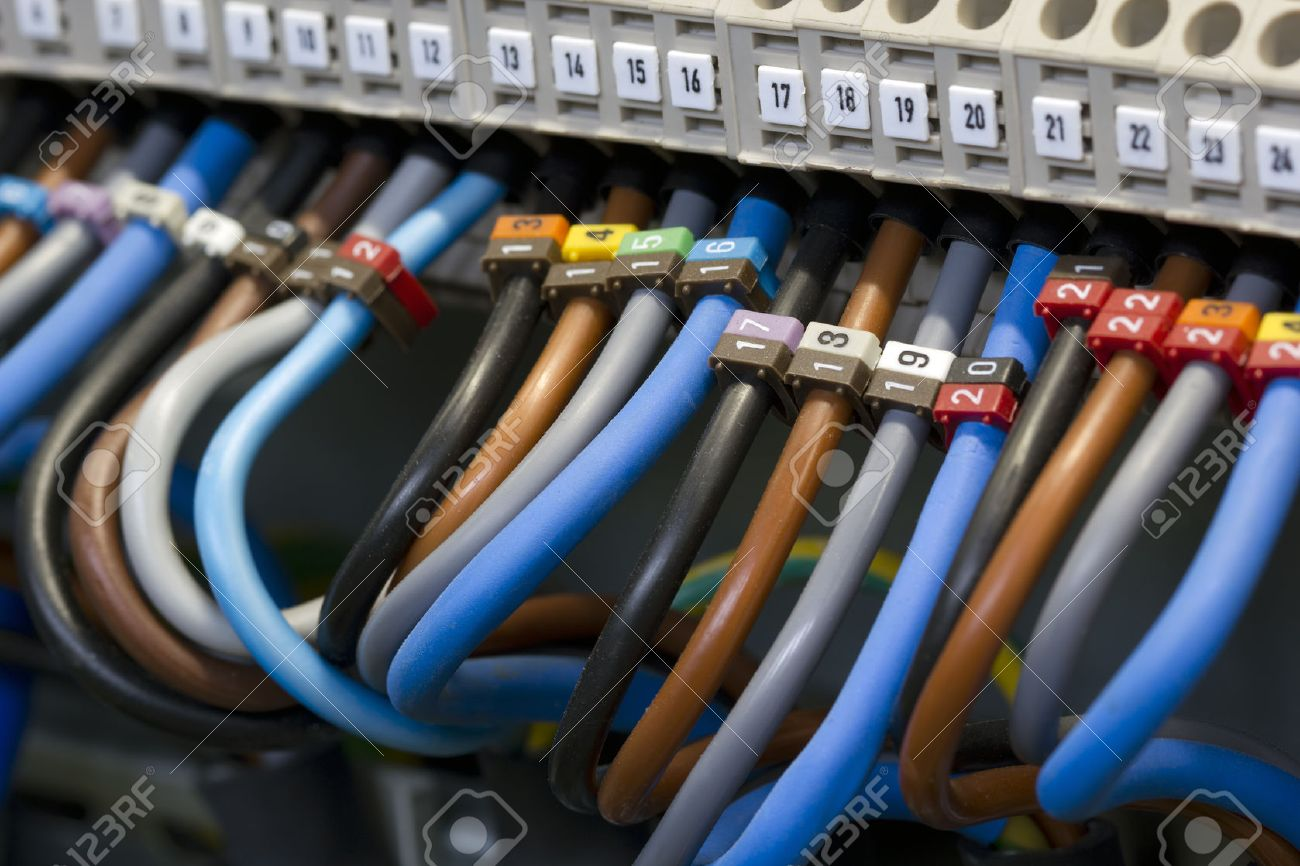 Close Up Of A Three Phase Power Supply Electrical Wiring And.. Stock ...