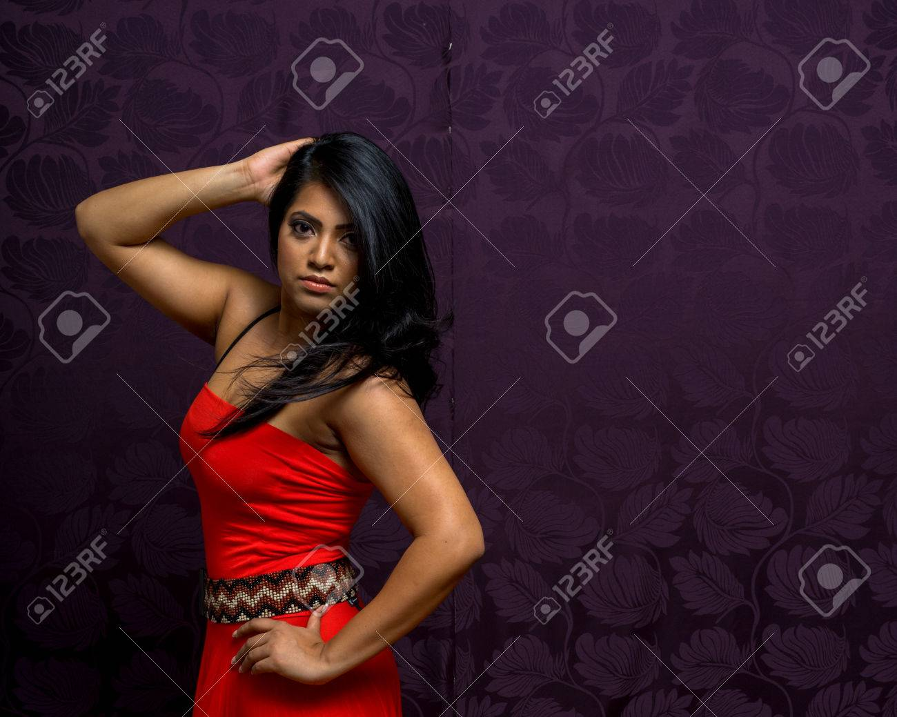313f7b315f Indian female wearing a beautifl and vibrant flowing sleeveless dress Stock  Photo - 45162012