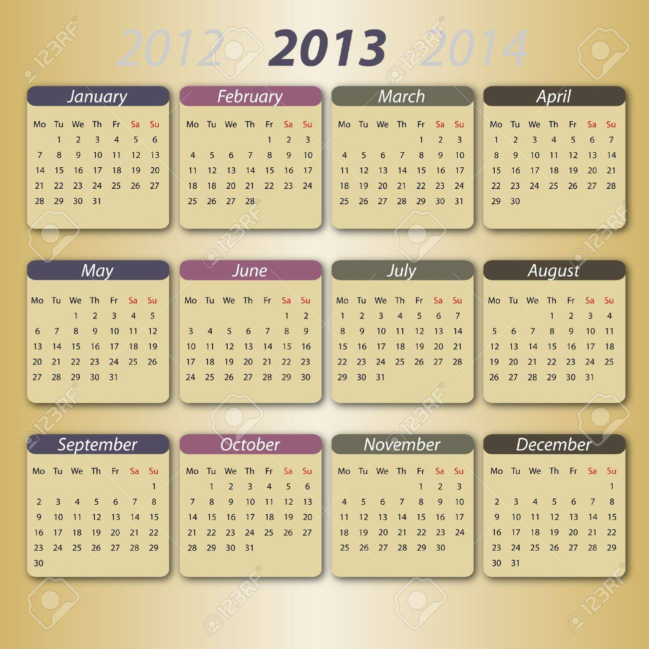 Calendar 2013, english Stock Vector - 12203795