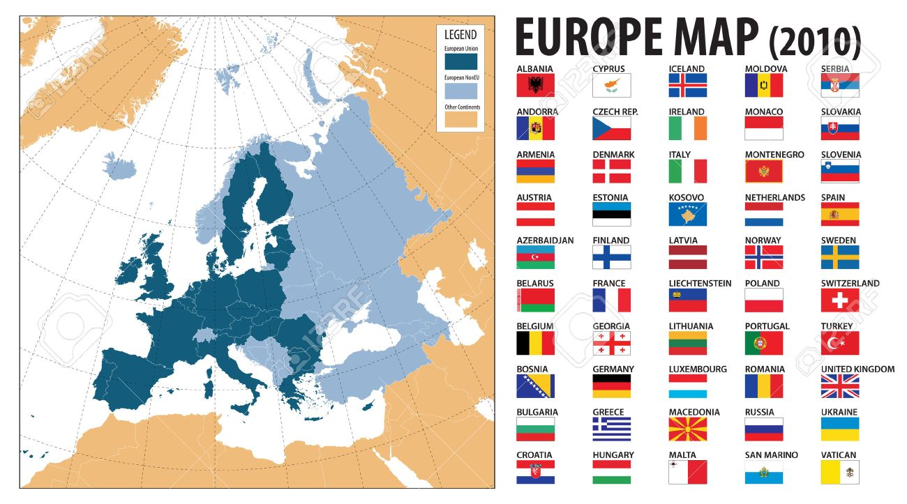 Europe Map And Flags Including Turkey Kosovo Armenia Azerbaidjan