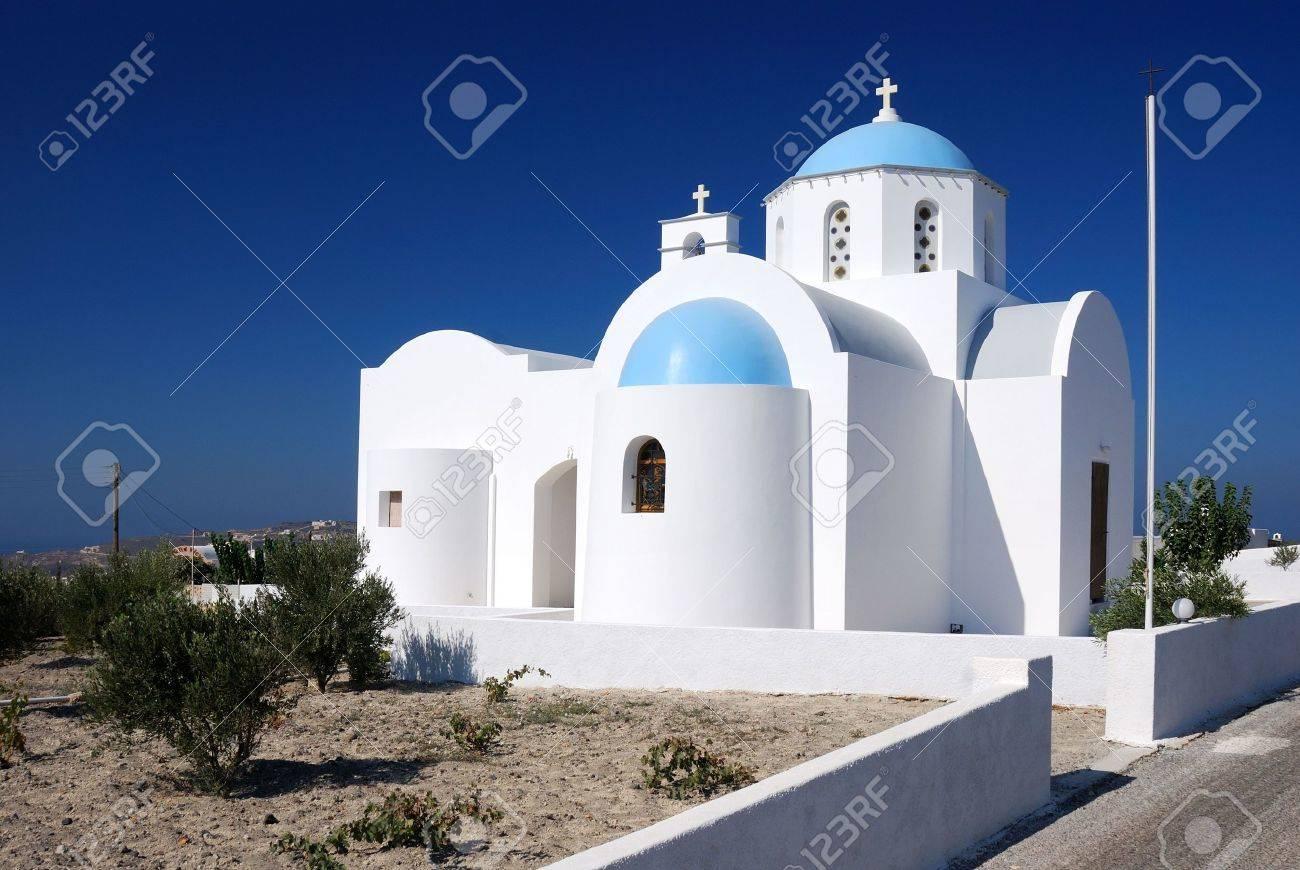 Traditional Church Architecture In Santorini Island, Greece Stock Photo    8156640