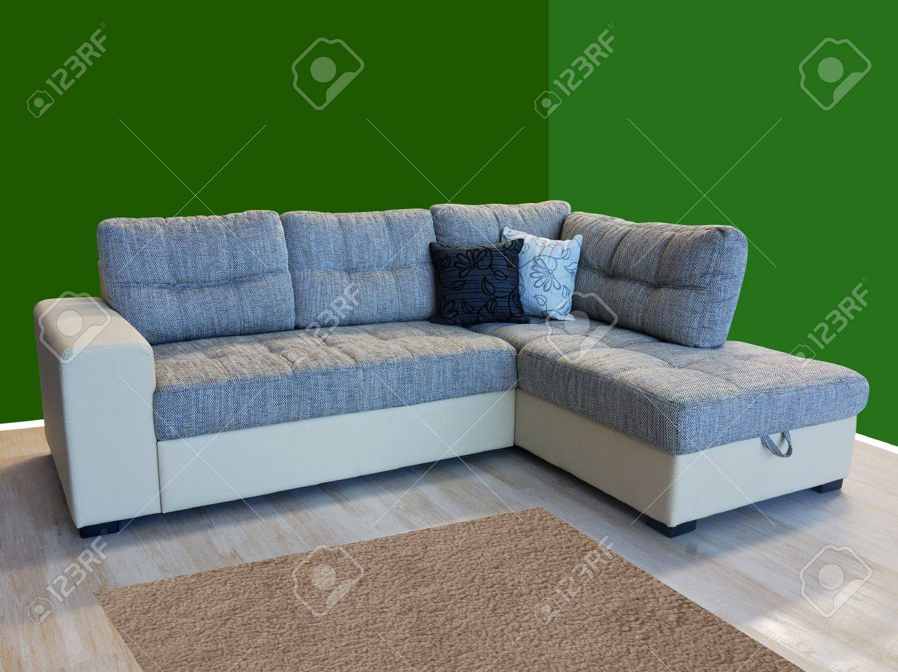 L shape fabric four sitter sofa Stock Photo - 10835916