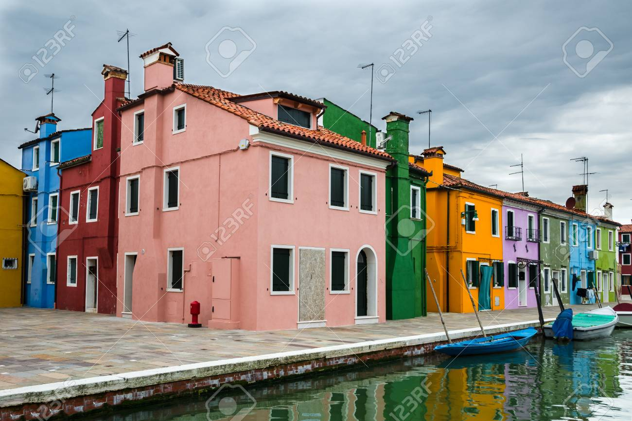 Image With Colorful Houses In Burano, Island And Landmark Of.. Stock ...