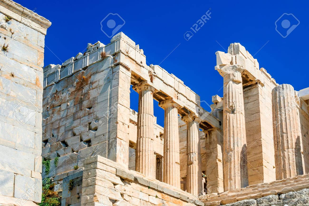 Athens Greece Ancient Ruins Of Parthenon Temple On The Acropolis Heritage Greek Culture Stock