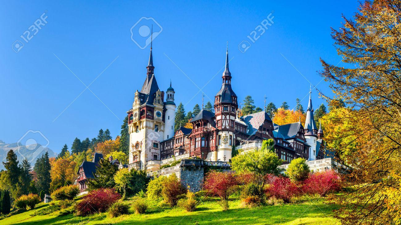 Peles Castle, Romania. Beautiful famous royal castle and ornamental garden in Sinaia landmark of Carpathian Mountains in Europe - 51346114