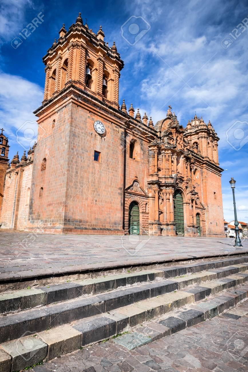 Cusco Peru Plaza De Armas And Catedral Del Cuzco Andes Mountains
