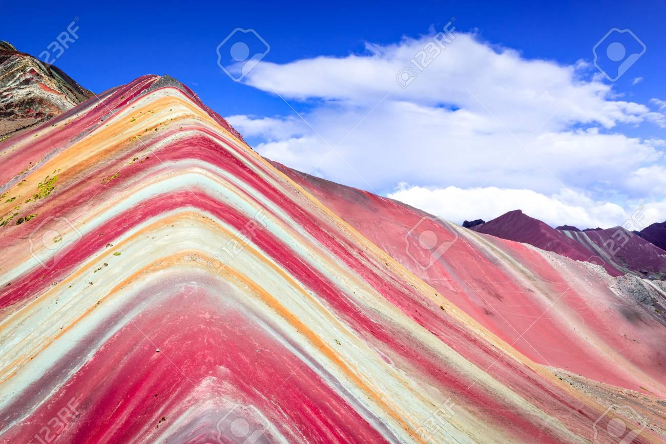 Vinicunca, Peru - Winicunca Rainbow Mountain (5200 m) in Andes, Cordillera de los Andes, Cusco region in South America. - 95996286