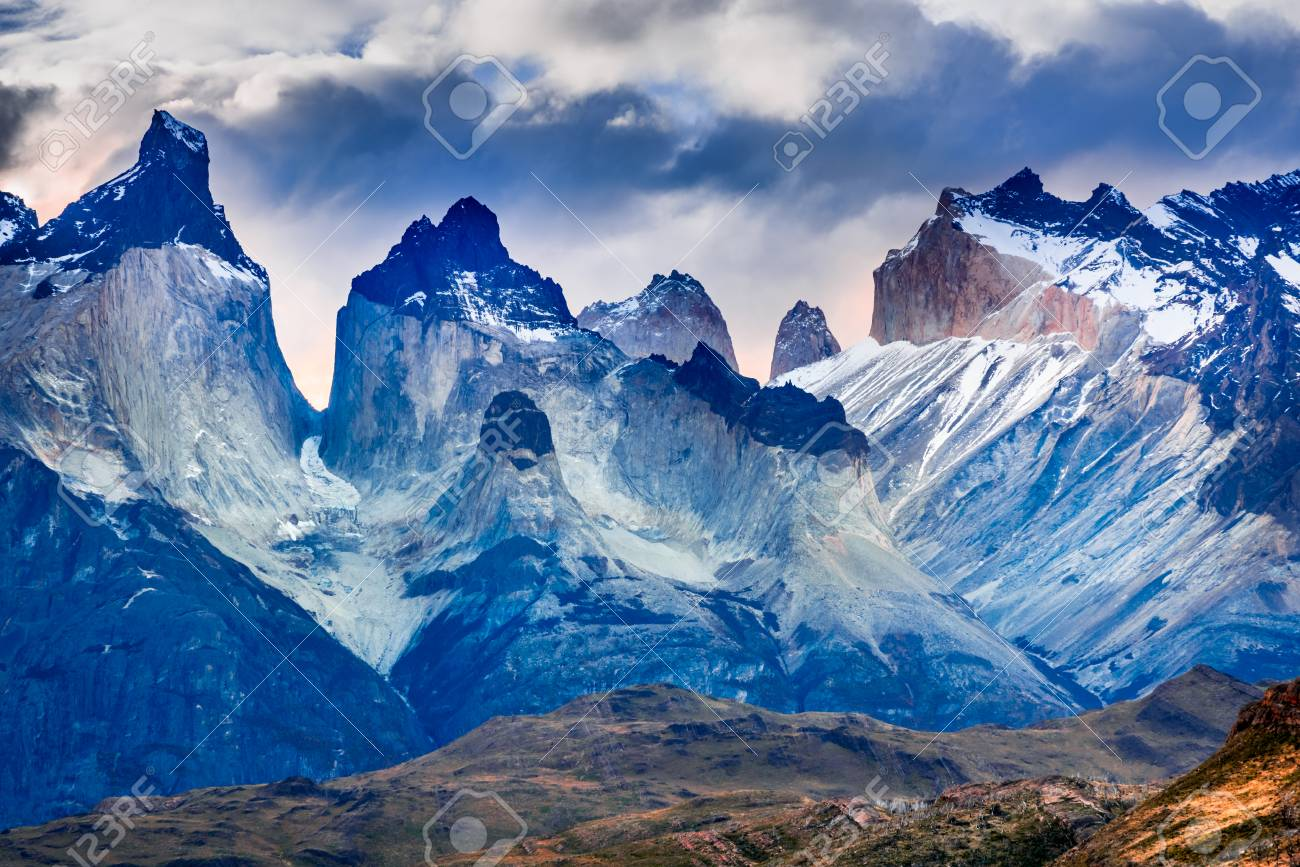 Patagonia South America >> Torres Del Paine Chile Cloudy Weather Austral Landscape In