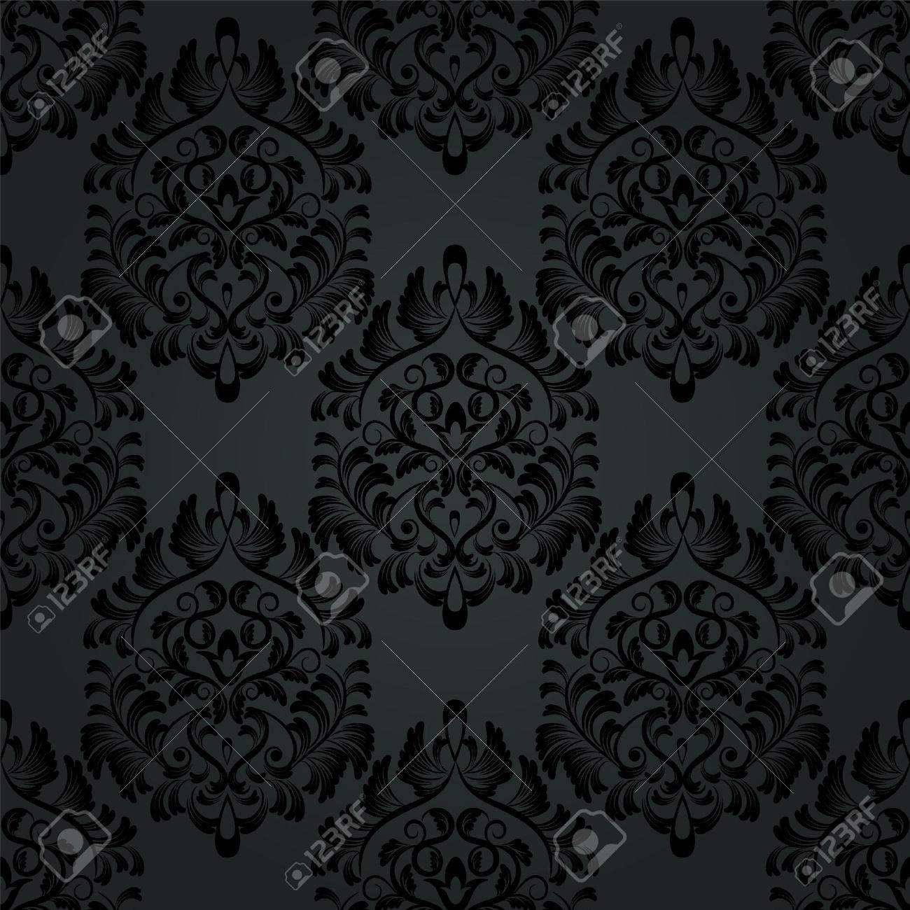 Luxury Seamless Charcoal Gothic Pattern Dark Wallpaper Royalty Free