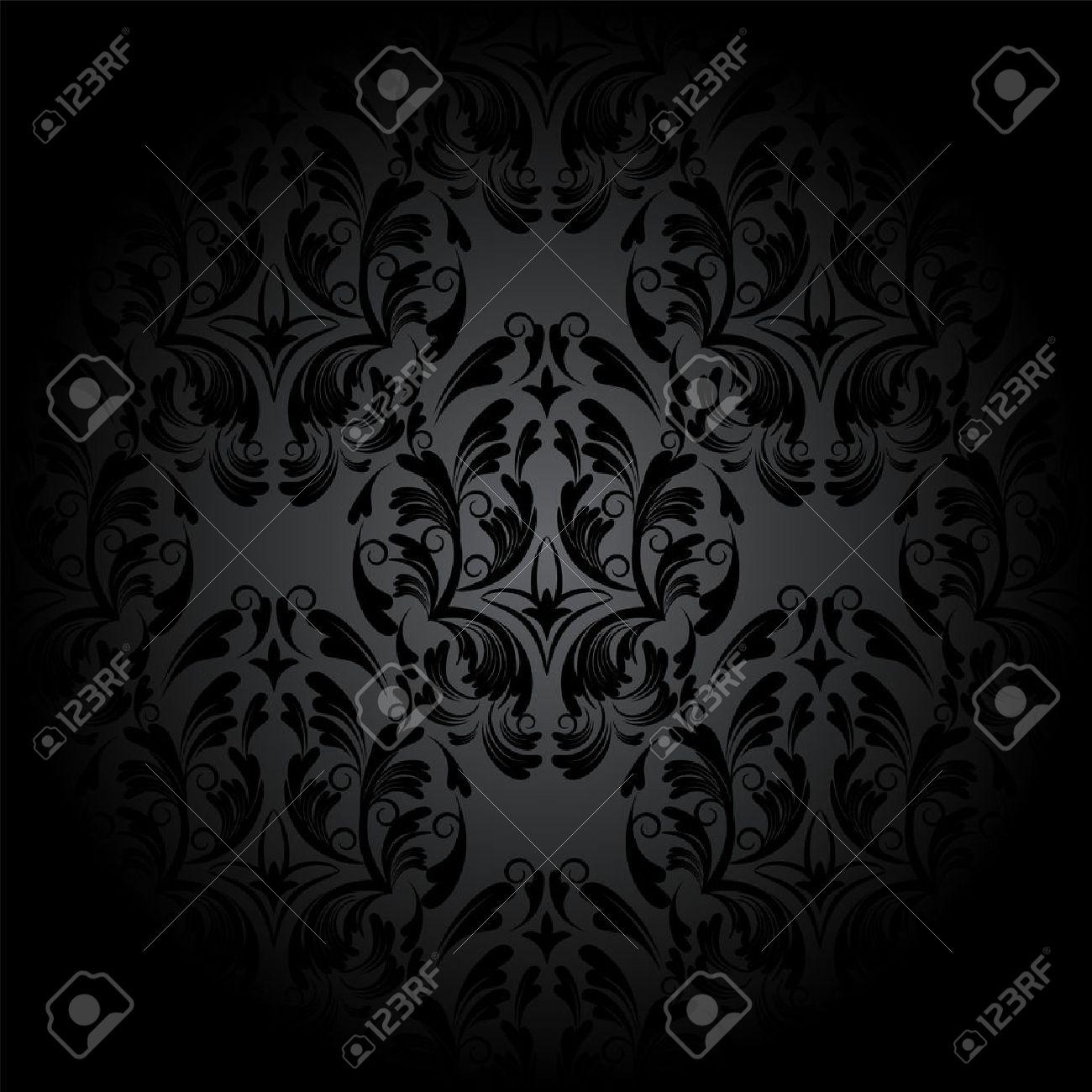 高級シームレスな木炭ゴシック パターン 暗い壁紙のイラスト素材
