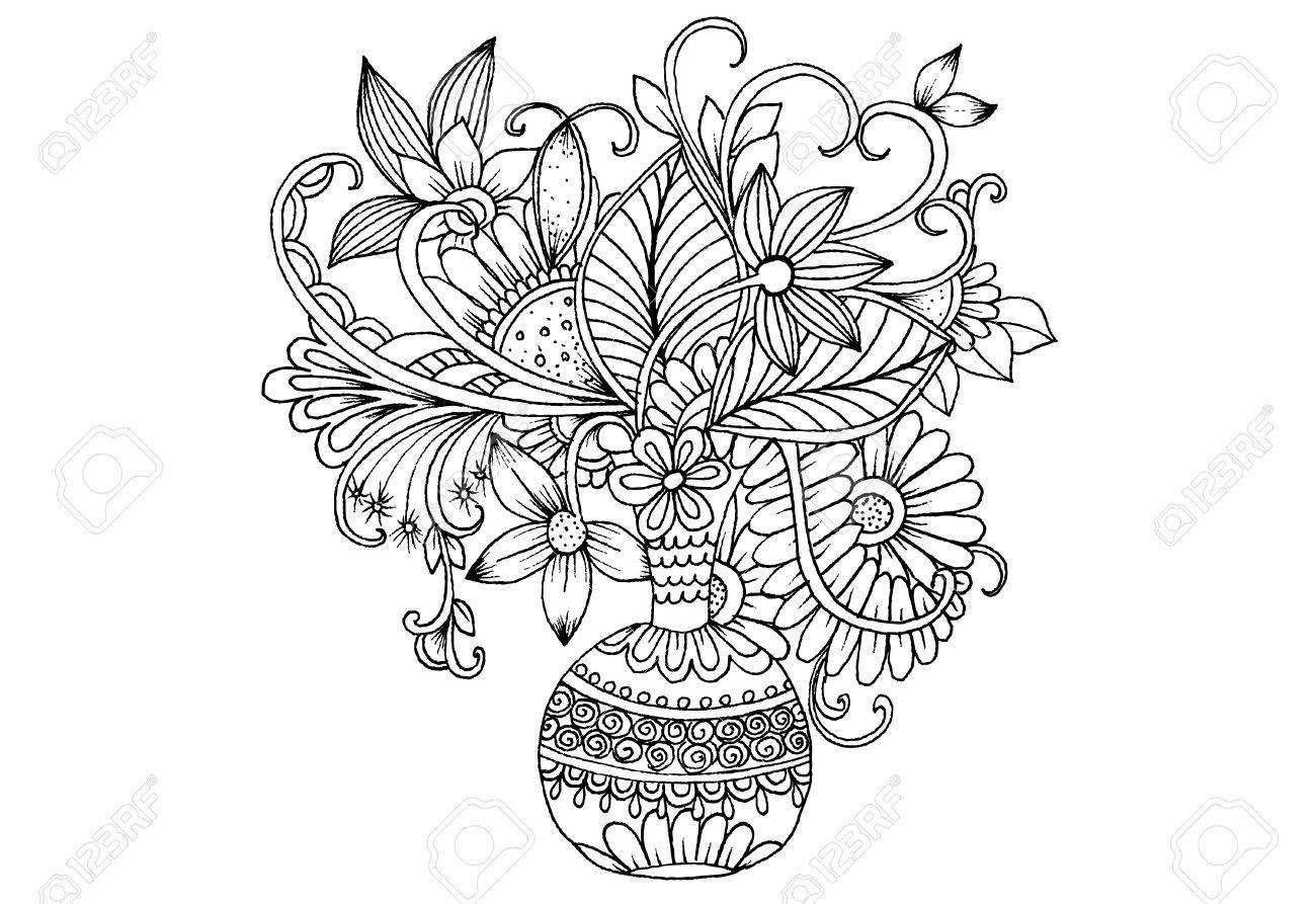 Ilustración Vectorial Florales En Blanco Y Negro Para Colorear Ramo