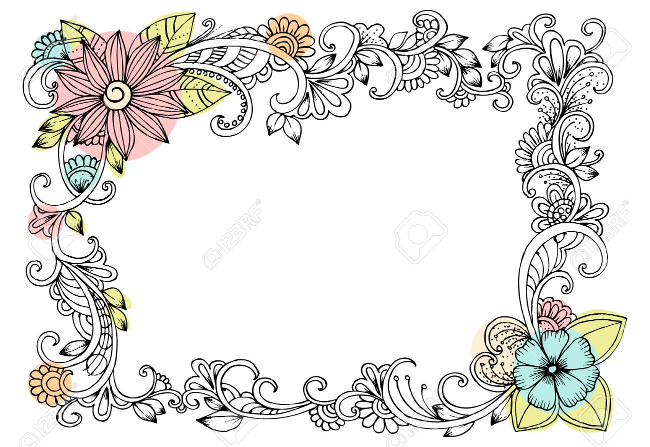 Doodle Drawing For Coloring Book Pattern Beautiful Flower Vector Frame Stock