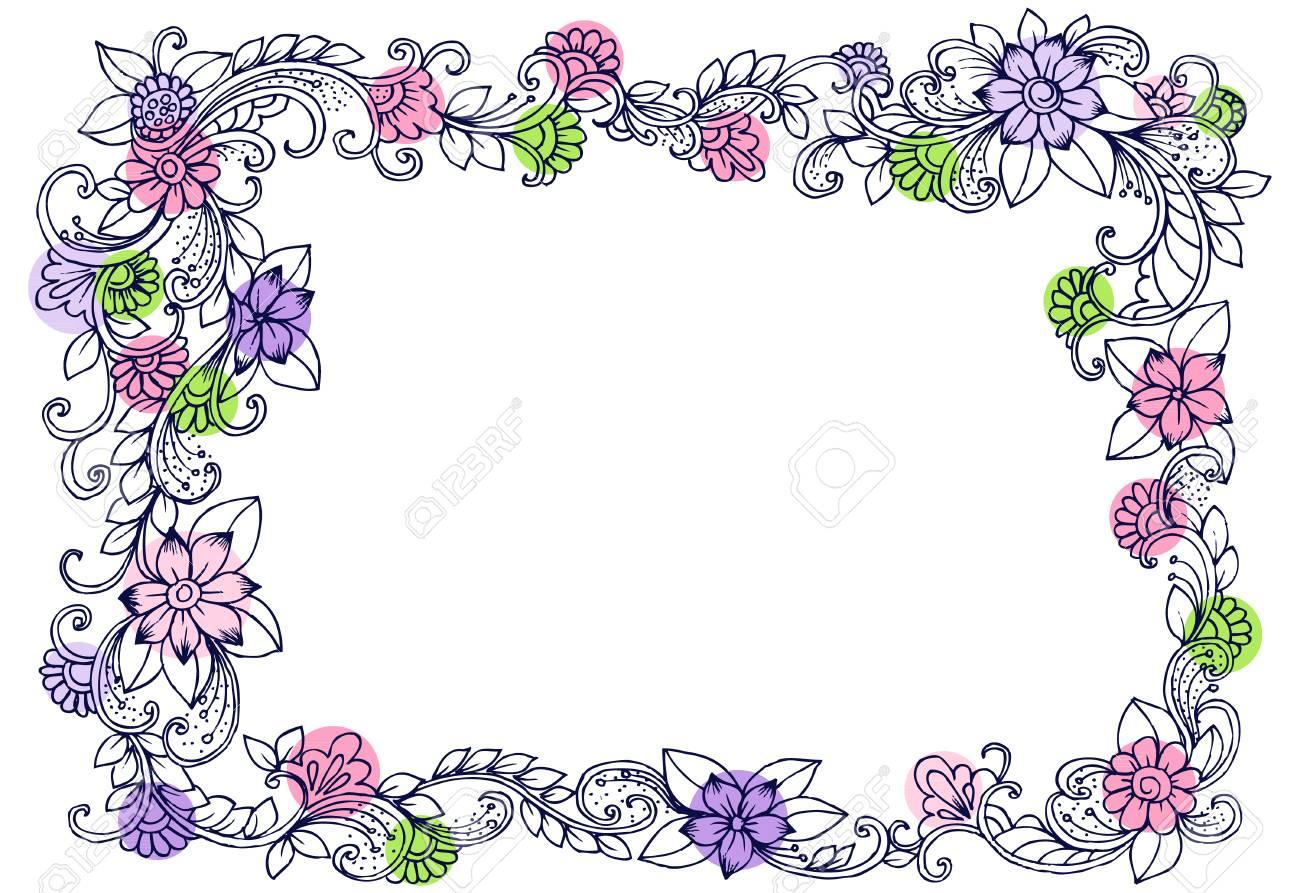 Coloriage Cadre Fleur.Doodle Dessin Pour Cahier De Coloriage Modele Belle Fleur Cadre