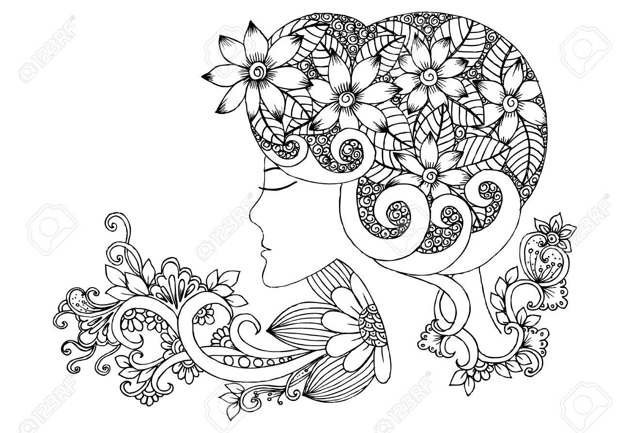 ベクターの花の落書きと大人の塗り絵の黒と白の女の子のイラスト素材