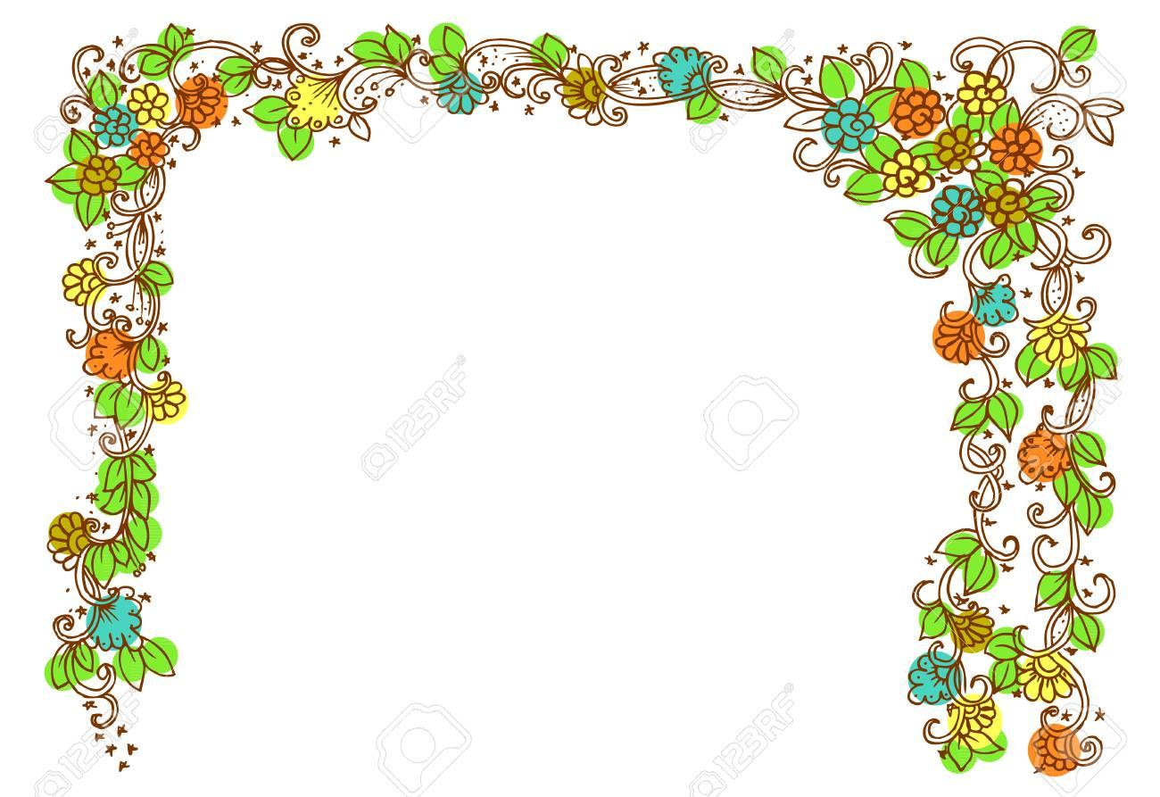 Coloriage Cadre Fleur.Doodle Dessin Pour Cahier De Coloriage Modele Vecteur De Belle