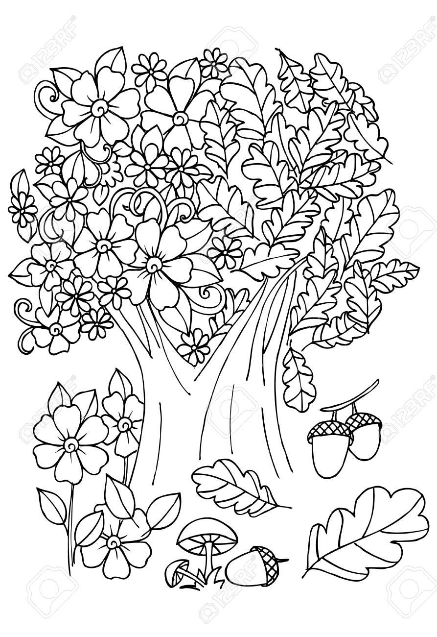 Flores En Blanco Y Negro árbol Con Pájaros Arte De Doodle Para Colorear