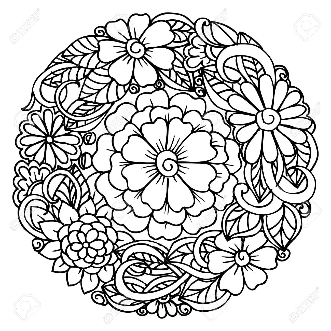Doodle Mandala De Flores Para La Relajación Y El Libro Para