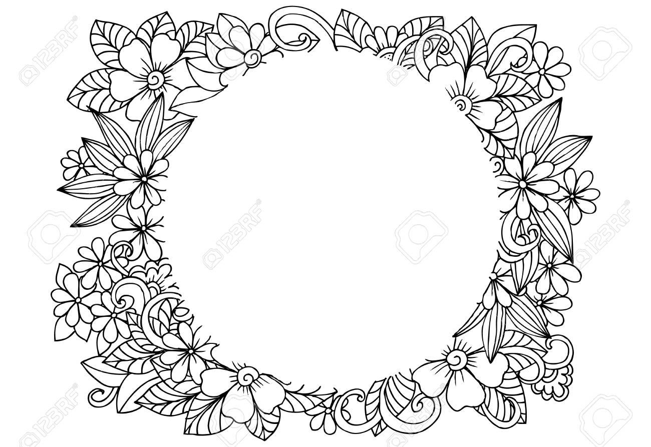 Marco Floral De Vector En Blanco Y Negro Puede Usar Para Colorear Y Como Elemento De Diseño Para Decoración