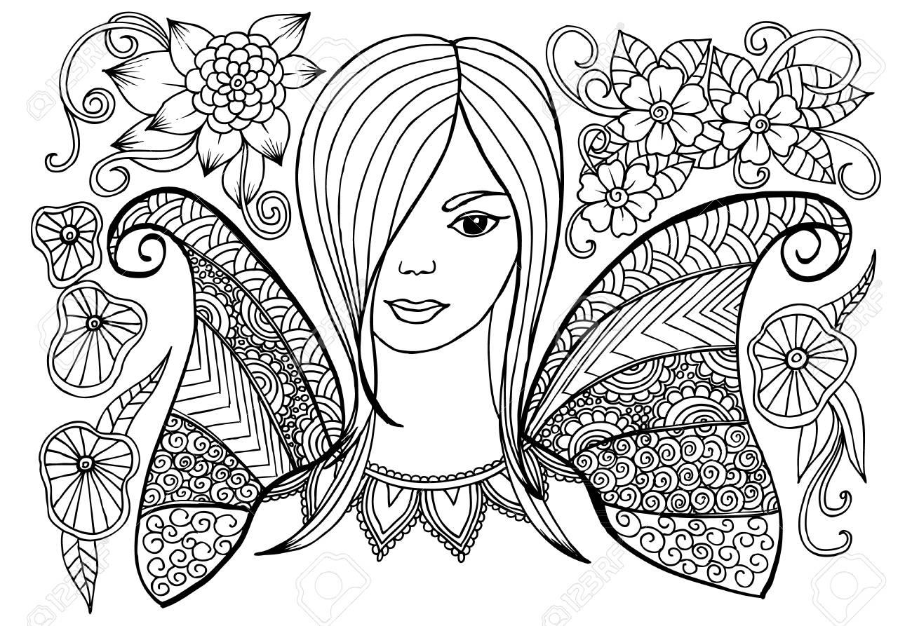 Vector Flores Doodle Y Niña En Blanco Y Negro Para Colorear Libro ...