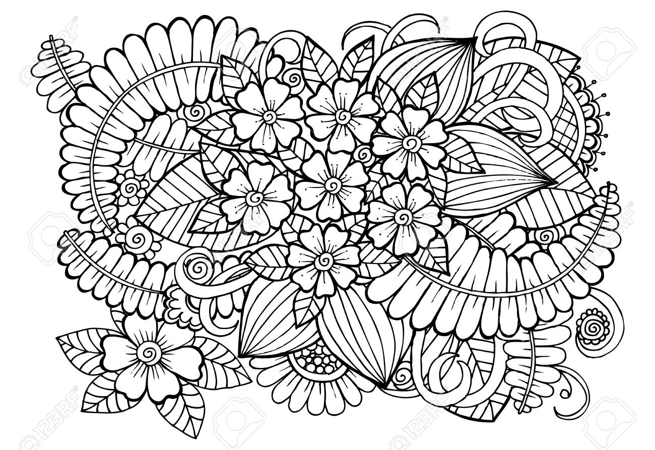Doodle Floral Drawing Art Therapy Coloring Page Royalty Free Cliparts Vectors And Stock Illustration Image 70666016