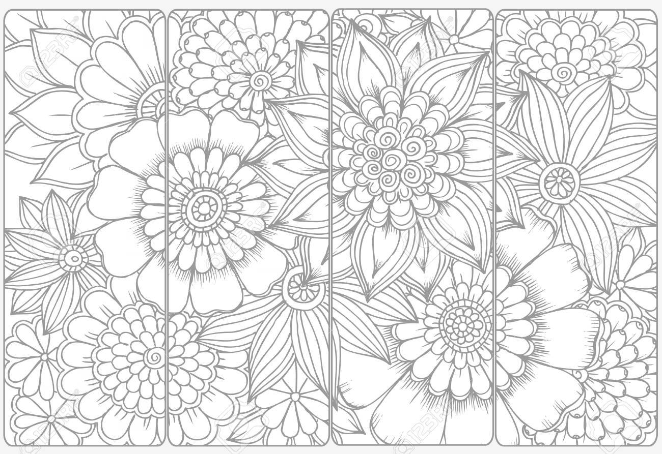 Vector set of monochrome bookmarks and doodle flowers for coloring..