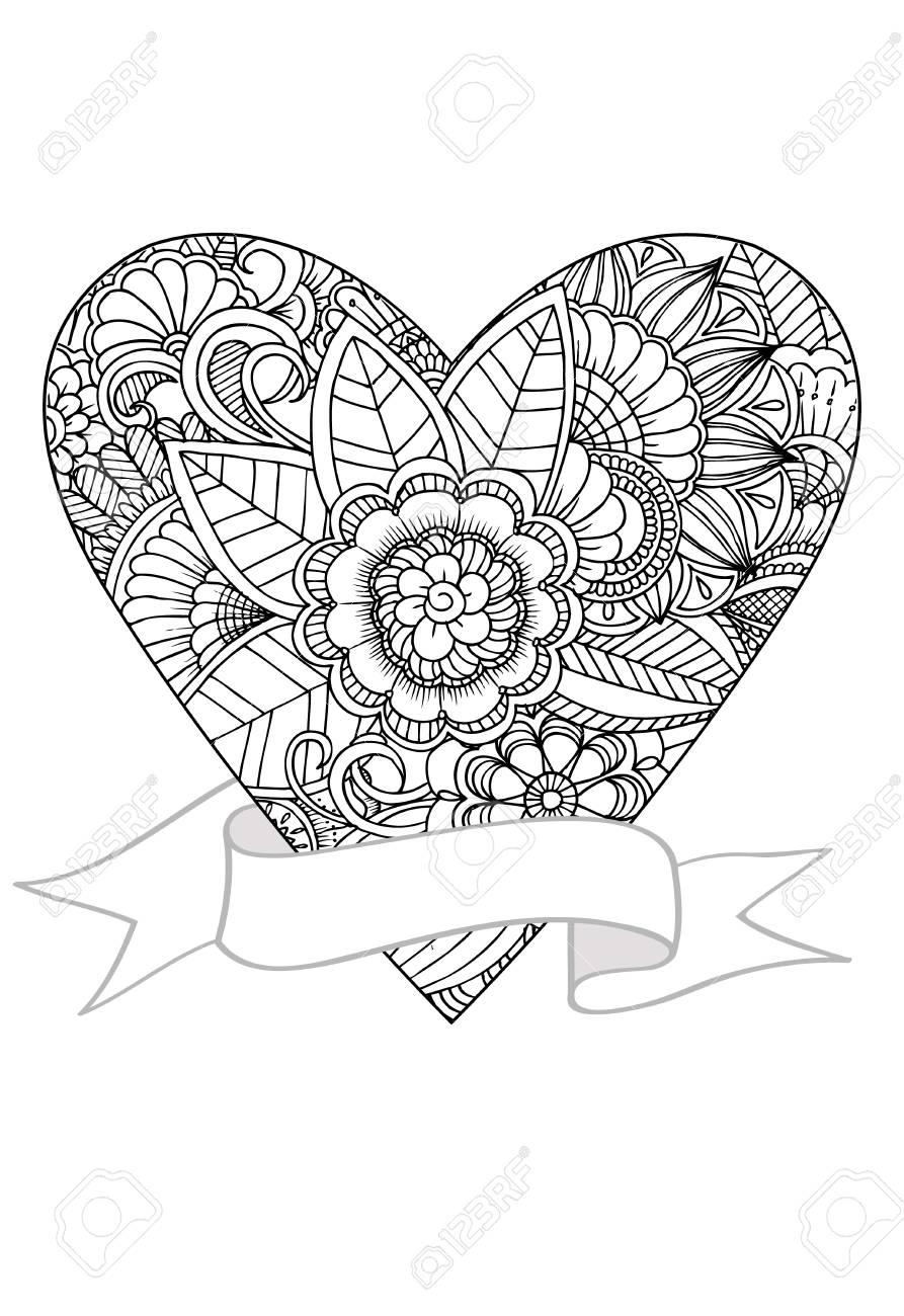 Único Diseño De Corazón Fresco Para Colorear Adorno - Dibujos Para ...