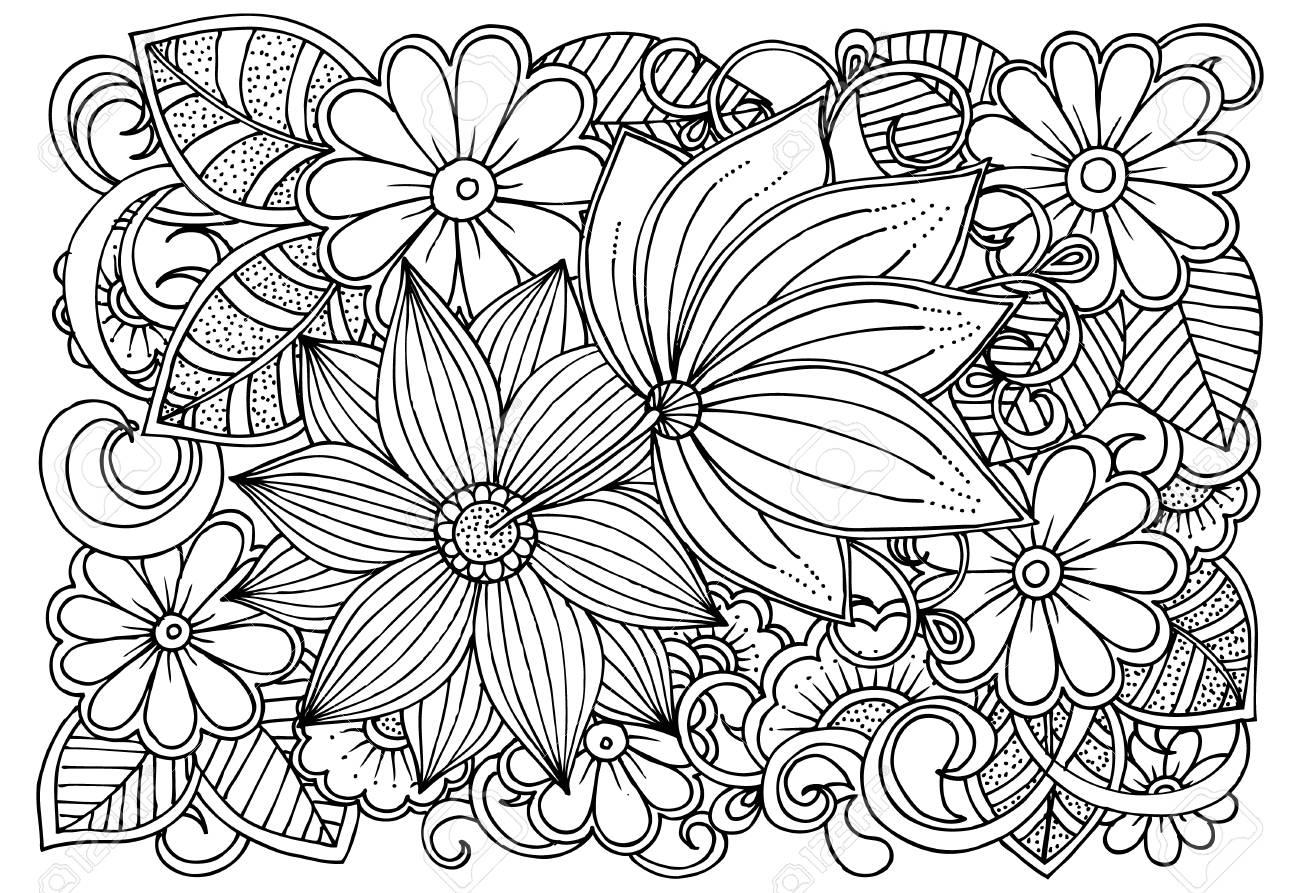 Hermosa Páginas Para Colorear En Blanco Y Negro De Flores Motivo ...