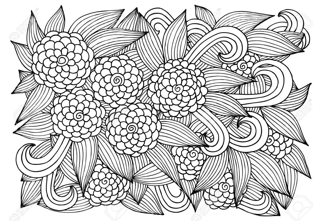 Doodle Del Estampado De Flores En Blanco Y Negro. Página Para Niños ...