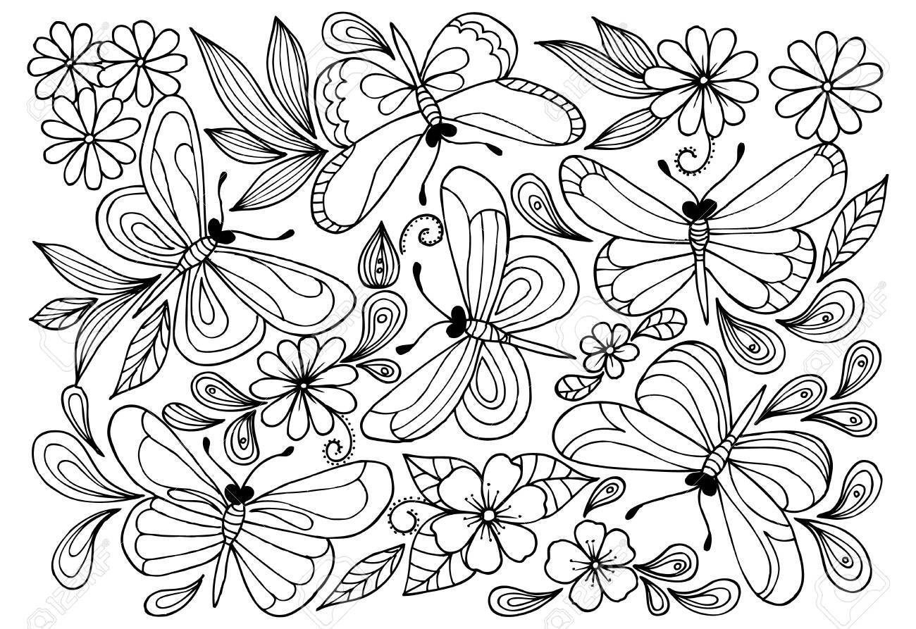 Vector butterflies anf doodle flowers for coloring book.